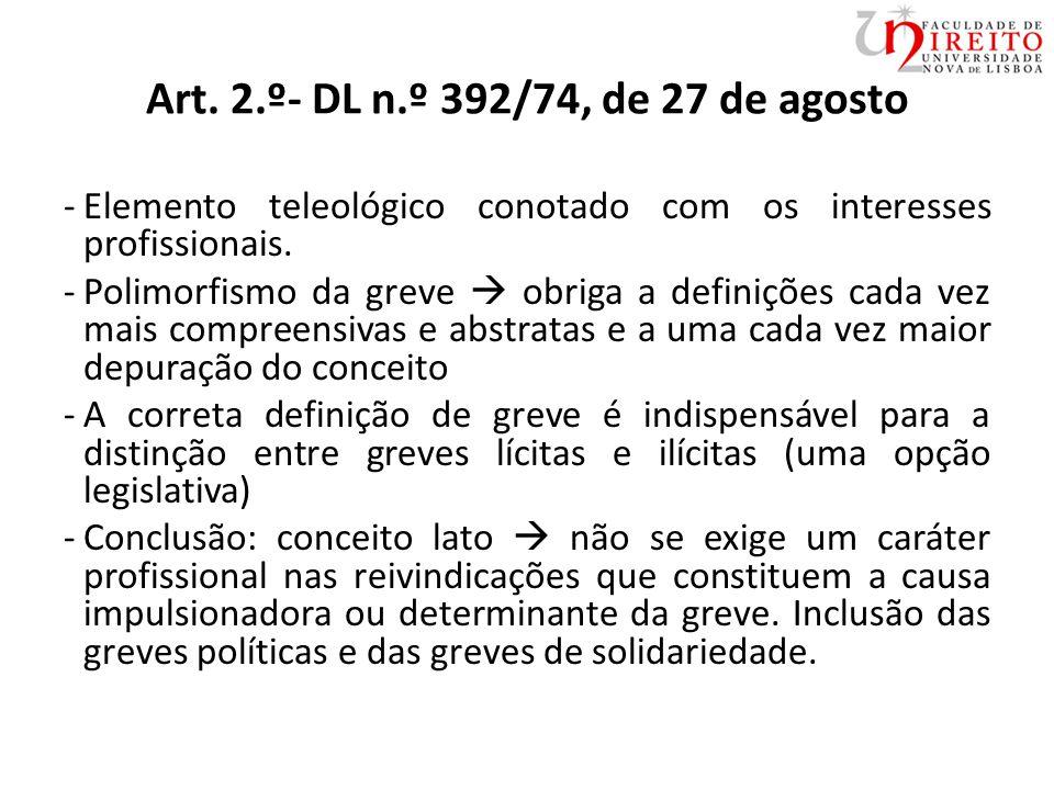 Art. 2.º- DL n.º 392/74, de 27 de agosto -Elemento teleológico conotado com os interesses profissionais. -Polimorfismo da greve  obriga a definições