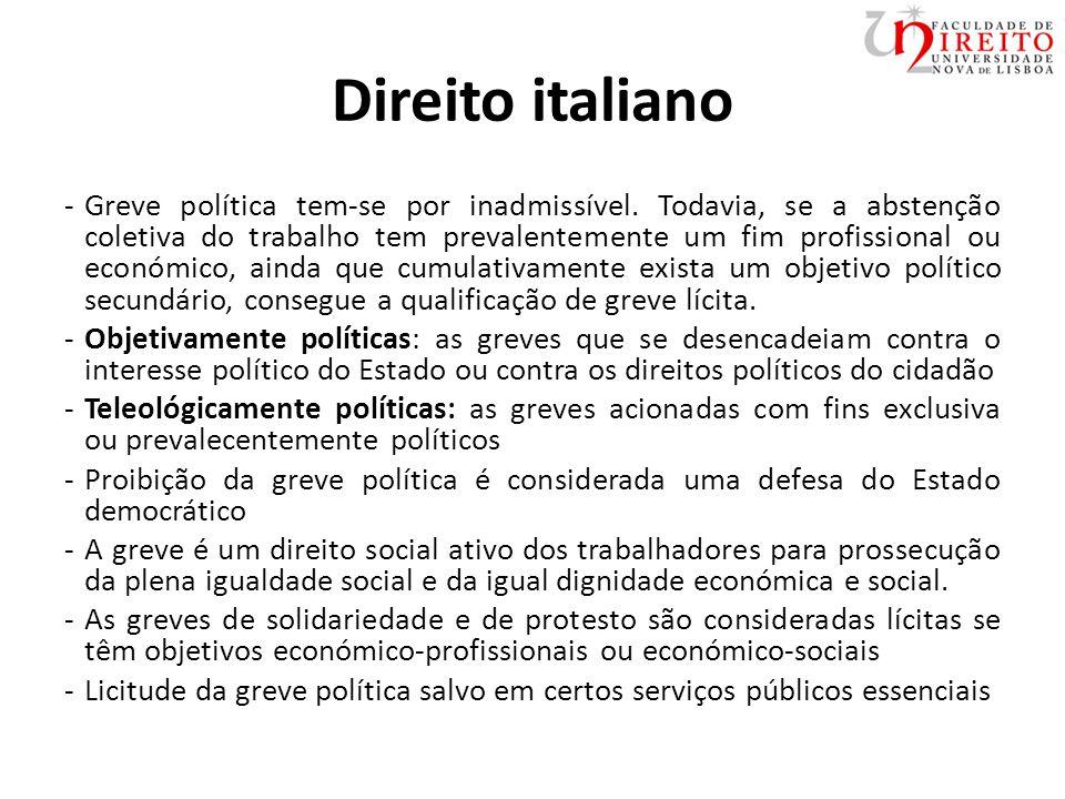 Direito italiano -Greve política tem-se por inadmissível.