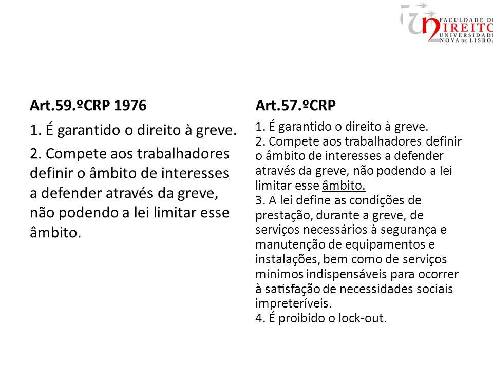 Art.59.ºCRP 1976 1. É garantido o direito à greve.