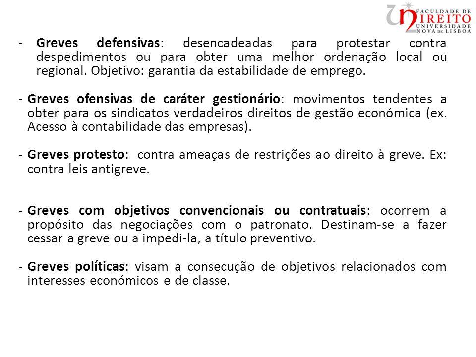 -Greves defensivas: desencadeadas para protestar contra despedimentos ou para obter uma melhor ordenação local ou regional.