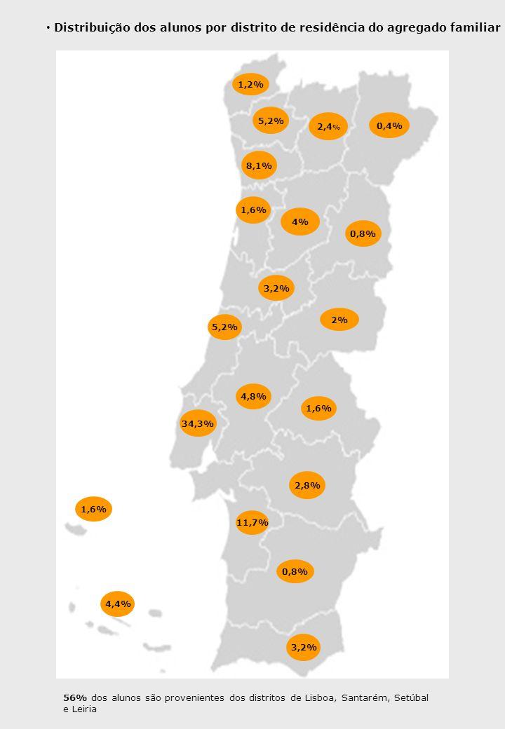 34,3% 1,2% 2,4 % 0,4% 5,2% 8,1% 4% 0,8% 2% 1,6% 3,2% 5,2% 4,8% 1,6% 11,7% 0,8% 3,2% 2,8% 1,6% 4,4% Distribuição dos alunos por distrito de residência do agregado familiar 56% dos alunos são provenientes dos distritos de Lisboa, Santarém, Setúbal e Leiria
