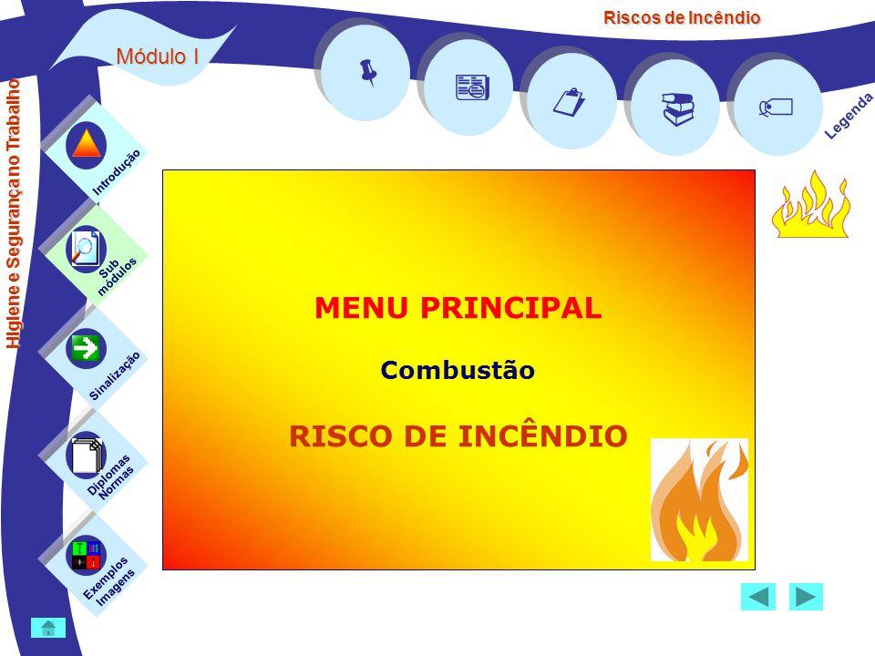 Riscos de Incêndio Módulo I      Legenda MENU PRINCIPAL Combustão RISCO DE INCÊNDIO Exemplos Imagens Sub módulos Sinalização Diplomas Normas Intr