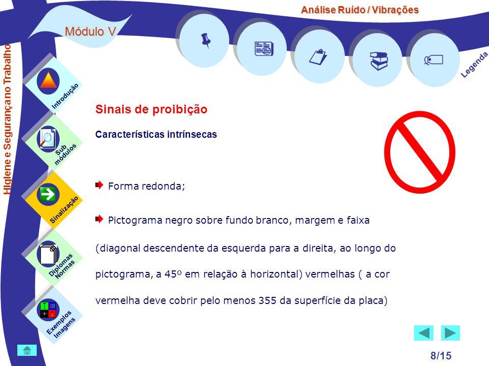 Análise Ruído / Vibrações Módulo V 8/15 Exemplos Imagens Sub módulos Sinalização Diplomas Normas Introdução      Legenda Sinais de proibição Cara