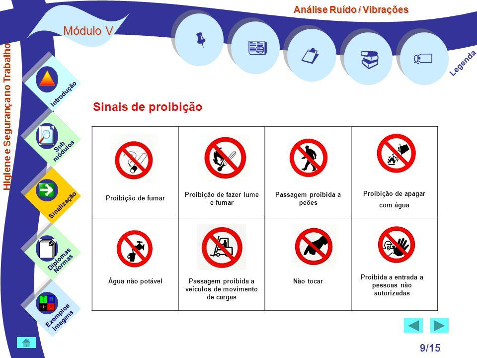 Análise Ruído / Vibrações Módulo V 9/15 Exemplos Imagens Sub módulos Sinalização Diplomas Normas Introdução      Legenda Sinais de proibição Higi