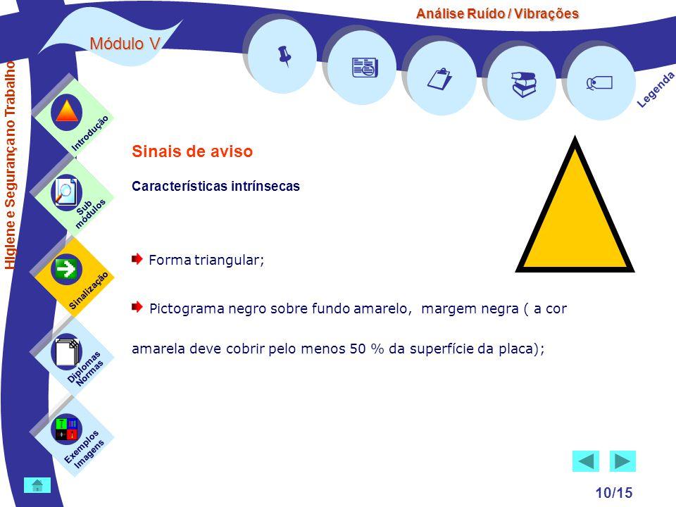 Análise Ruído / Vibrações Módulo V 10/15      Legenda Exemplos Imagens Sub módulos Sinalização Diplomas Normas Introdução Higiene e Segurança no