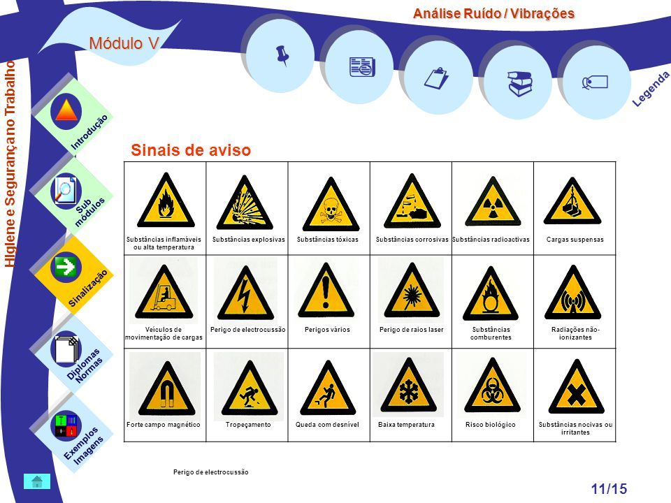 Análise Ruído / Vibrações Módulo V 11/15      Legenda Exemplos Imagens Sub módulos Sinalização Diplomas Normas Introdução Higiene e Segurança no