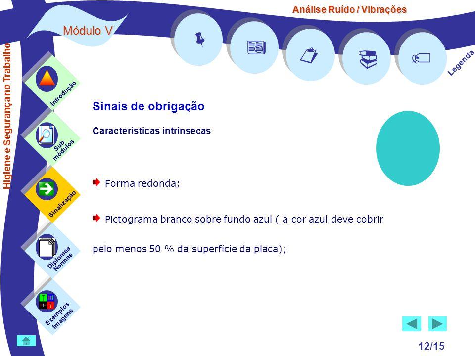 Análise Ruído / Vibrações Módulo V 12/15      Legenda Exemplos Imagens Sub módulos Sinalização Diplomas Normas Introdução Higiene e Segurança no