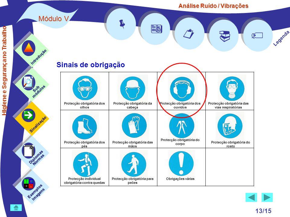 Análise Ruído / Vibrações Módulo V 13/15      Legenda Exemplos Imagens Sub módulos Sinalização Diplomas Normas Introdução Higiene e Segurança no