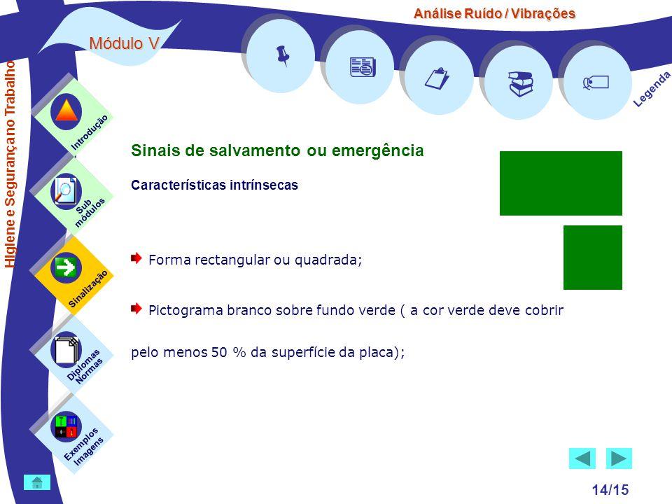 Análise Ruído / Vibrações Módulo V 14/15      Legenda Exemplos Imagens Sub módulos Sinalização Diplomas Normas Introdução Higiene e Segurança no