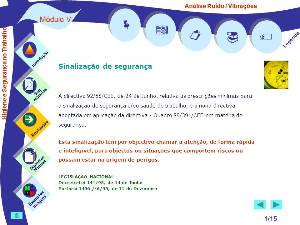 Análise Ruído / Vibrações Módulo V 1/15 Sinalização de segurança A directiva 92/58/CEE, de 24 de Junho, relativa ás prescrições mínimas para a sinaliz