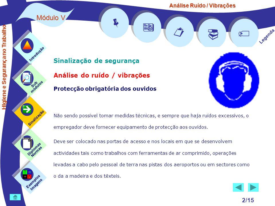 Análise Ruído / Vibrações Módulo V 2/15 Sinalização de segurança Análise do ruído / vibrações Protecção obrigatória dos ouvidos Não sendo possível tom