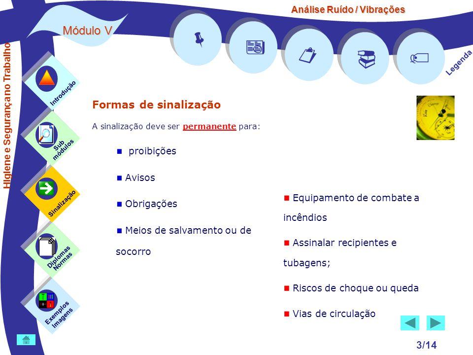 Análise Ruído / Vibrações Módulo V 3/14 Formas de sinalização A sinalização deve ser permanente para: proibições Avisos Obrigações Meios de salvamento