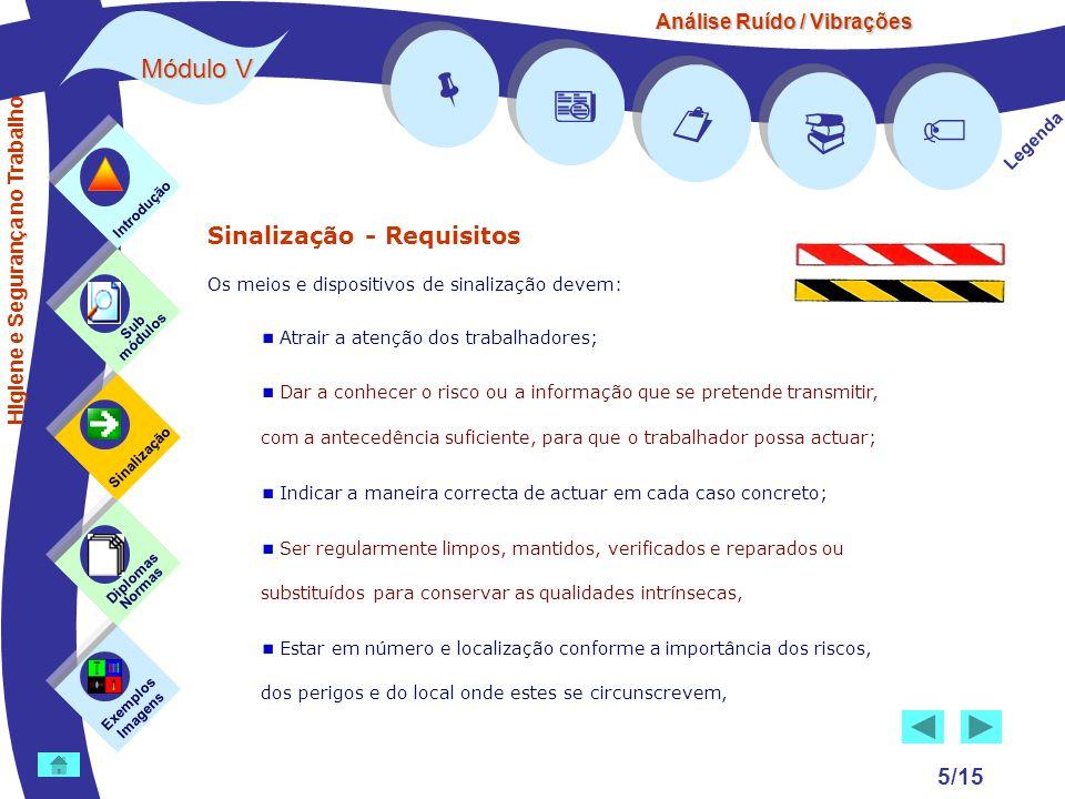 Análise Ruído / Vibrações Módulo V 5/15 Sinalização - Requisitos Os meios e dispositivos de sinalização devem: Atrair a atenção dos trabalhadores; Dar