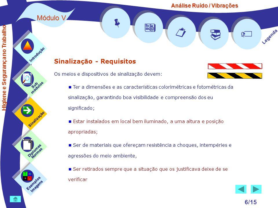 Análise Ruído / Vibrações Módulo V 6/15 Sinalização - Requisitos Os meios e dispositivos de sinalização devem: Ter a dimensões e as características co