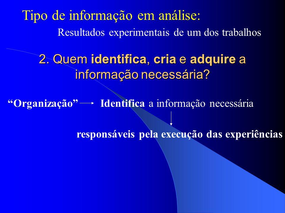 Tipo de informação em análise: Resultados experimentais de um dos trabalhos 2.