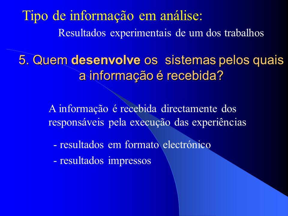 Tipo de informação em análise: Resultados experimentais de um dos trabalhos 5.