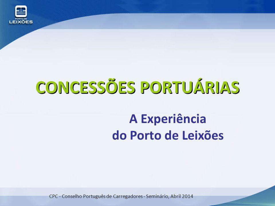 CPC - Conselho Português de Carregadores - Seminário, Abril 2014 CONCESSÕES PORTUÁRIAS A Experiência do Porto de Leixões