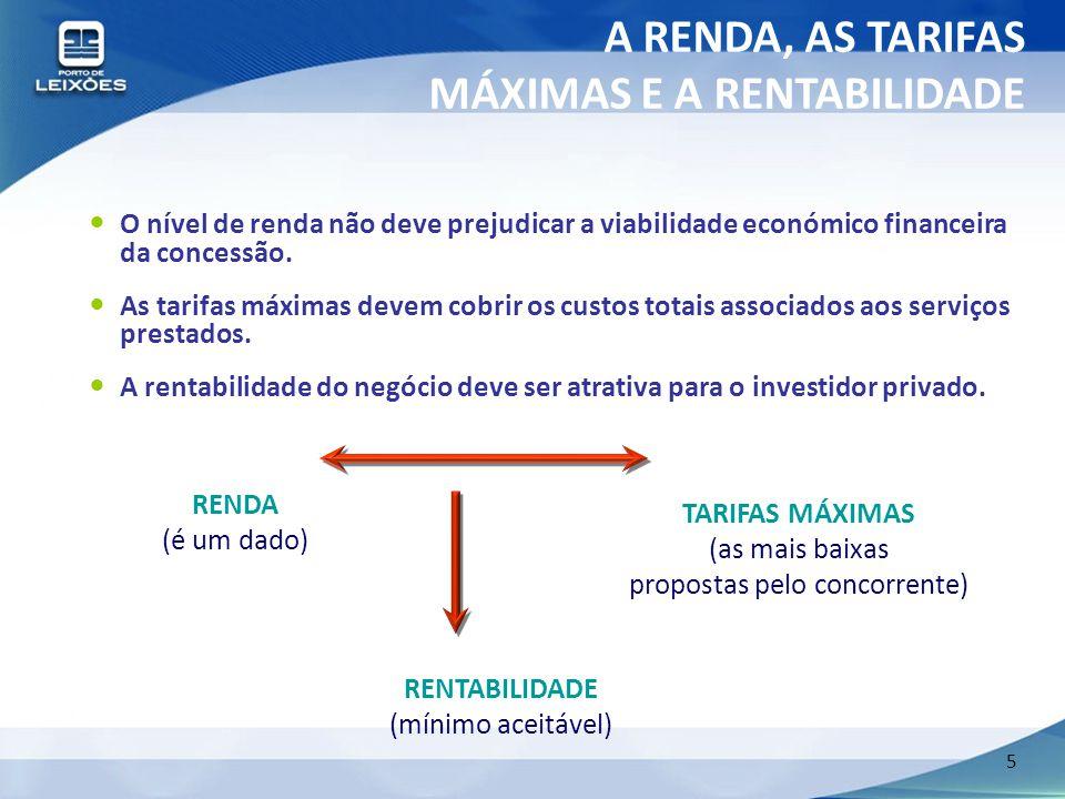 5 O nível de renda não deve prejudicar a viabilidade económico financeira da concessão. As tarifas máximas devem cobrir os custos totais associados ao