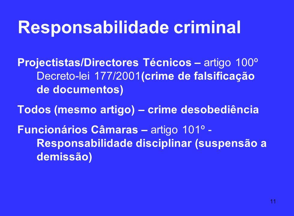 11 Responsabilidade criminal Projectistas/Directores Técnicos – artigo 100º Decreto-lei 177/2001(crime de falsificação de documentos) Todos (mesmo art