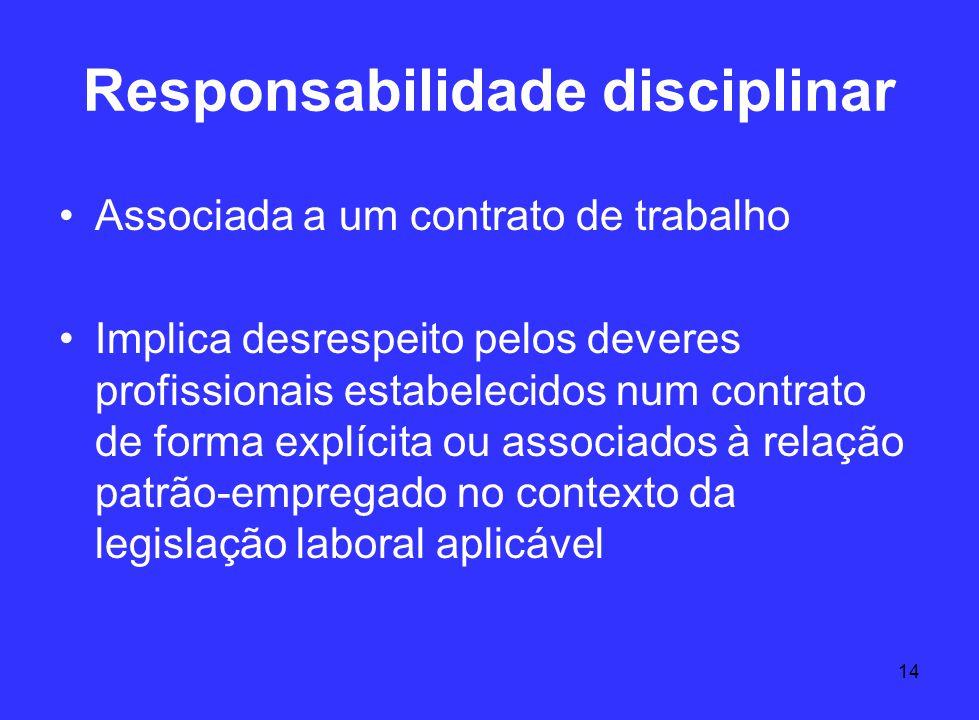14 Responsabilidade disciplinar Associada a um contrato de trabalho Implica desrespeito pelos deveres profissionais estabelecidos num contrato de form