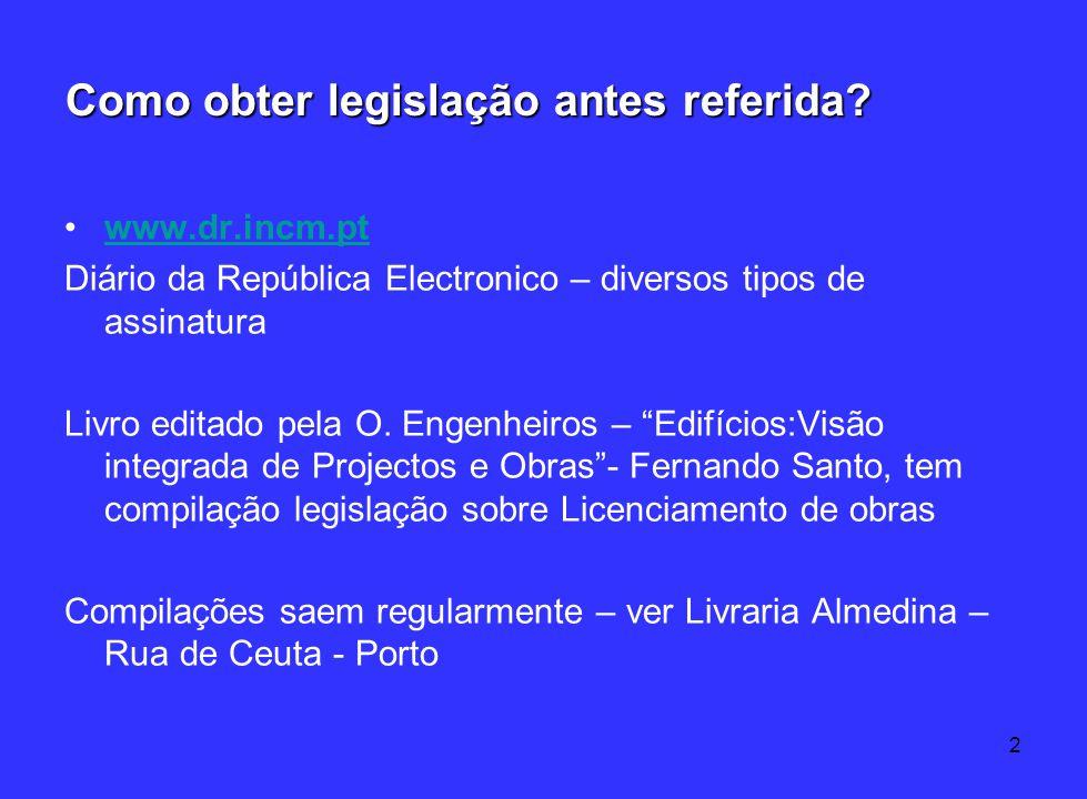 2 Como obter legislação antes referida? www.dr.incm.pt Diário da República Electronico – diversos tipos de assinatura Livro editado pela O. Engenheiro