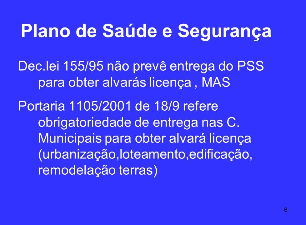 6 Plano de Saúde e Segurança Dec.lei 155/95 não prevê entrega do PSS para obter alvarás licença, MAS Portaria 1105/2001 de 18/9 refere obrigatoriedade