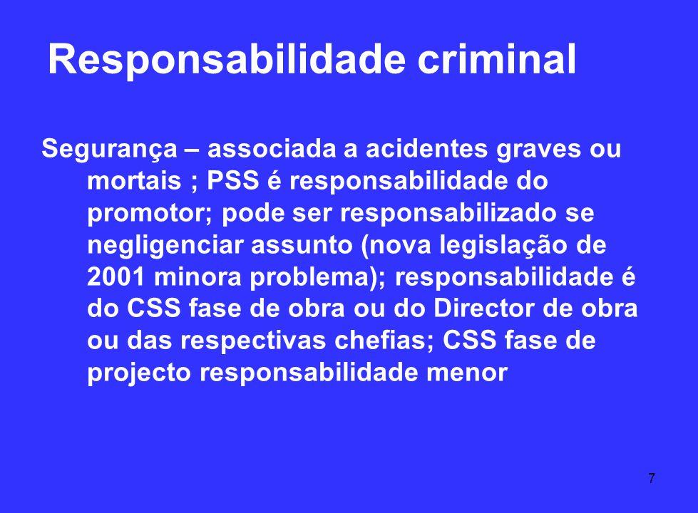 7 Responsabilidade criminal Segurança – associada a acidentes graves ou mortais ; PSS é responsabilidade do promotor; pode ser responsabilizado se neg