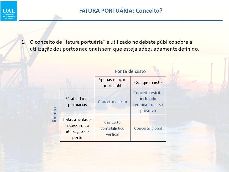"""1.O conceito de """"fatura portuária"""" é utilizado no debate público sobre a utilização dos portos nacionais sem que esteja adequadamente definido. FATURA"""