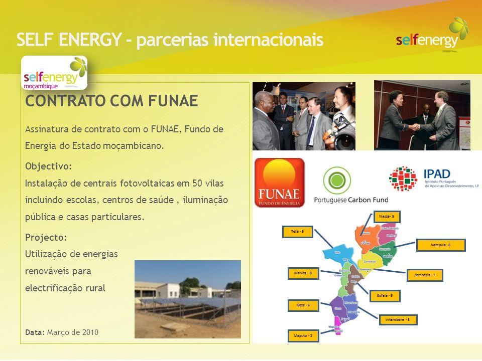 CONTRATO COM FUNAE Assinatura de contrato com o FUNAE, Fundo de Energia do Estado moçambicano. Objectivo: Instalação de centrais fotovoltaicas em 50 v