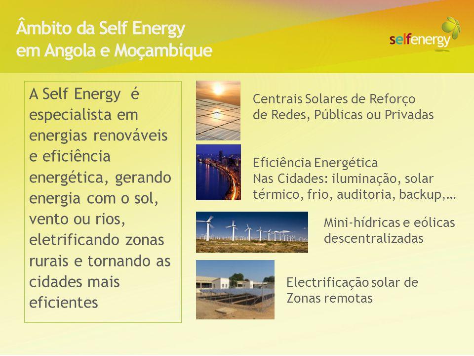 Centrais solares de 5(+5)MW de reforço a projectos estruturantes Centrais solares de proximidade para apoio a novas centralidades 2(+2) MW Mini-centrais solares de electrificação rural 50(+50) kW, com iluminação, mini-rede e backup: mais emprego, melhor manutenção, mais sustentável Mini-hídricas 0,2-25 MW Avaliar combinação de centrais hídricas com energia solar ou eólica para reduzir risco de falta de água e garantir potências mínimas constantes Iluminação de semáforos e estradas com LED + energia solar Electrificação e eficiência energética de edifícios do Estado ( ex: postos de fronteira, forças armadas, hospitais, etc) Água quente solar: aquecimento de água com soluções solares térmicas para Hotéis, Escolas, Hospitais, Quartéis, complexos residenciais e comerciais, etc Projectos tipo da Self Energy Em Angola e Moçambique