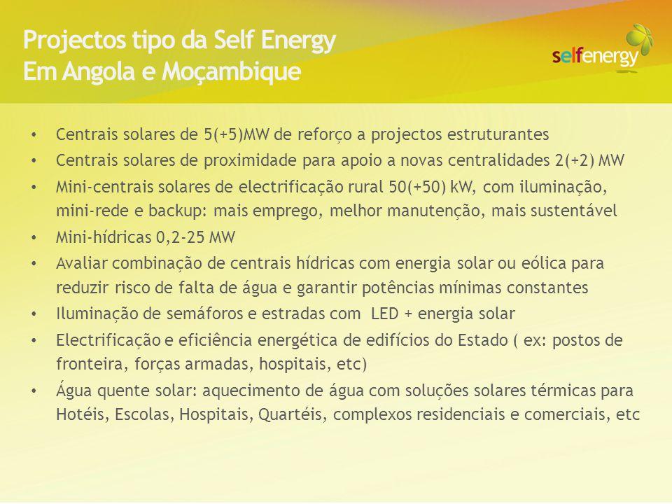 Alguns dos projectos Self Energy: Ex: MARL: Lisbon Logistic Center 6MW PV rooftop Promotor: MARL Energia / Fomentinvest EX: 3MW Solar Thin Film in Gran Canaria school rooftops (Spain, 2009) 4MW PV Industry and Retail rooftop (Madrid, Spain) 40 MW PV farm power plant (licensing, Poland) As centrais solares representam já uma parcela importante da energia gerada em Espanha (> 5000MW) ou na Alemanha ( >18000MW) e na África do Sul está em curso um programa para instalar mais de 2500MW de parques solares.