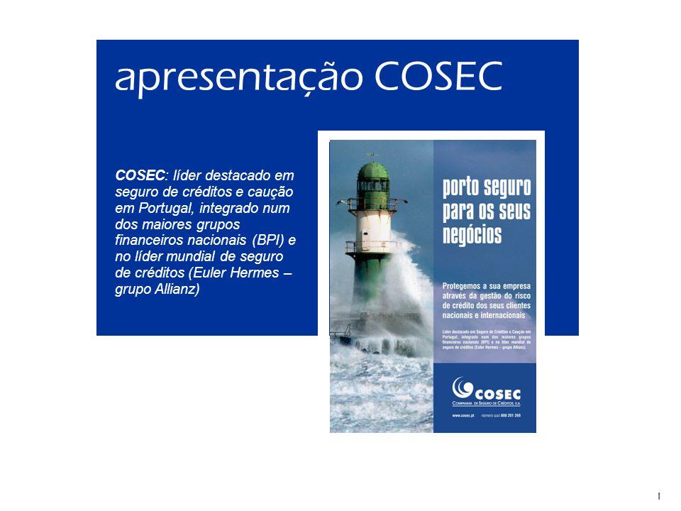 Apresentação COSEC 20081 apresentação COSEC COSEC: líder destacado em seguro de créditos e caução em Portugal, integrado num dos maiores grupos financeiros nacionais (BPI) e no líder mundial de seguro de créditos (Euler Hermes – grupo Allianz)