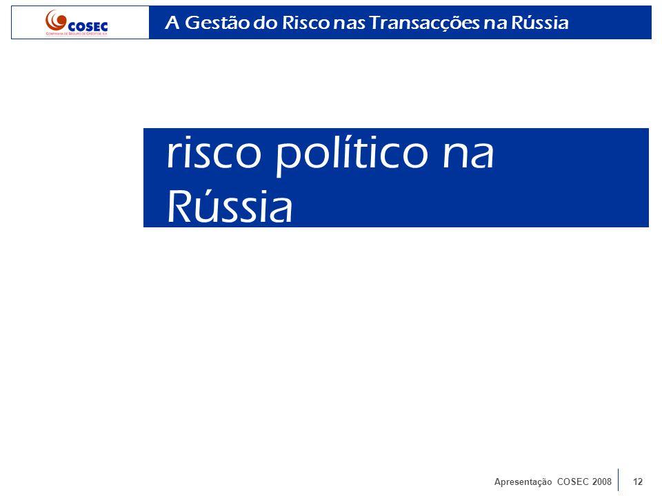 Apresentação COSEC 200812 A Gestão do Risco nas Transacções na Rússia risco político na Rússia