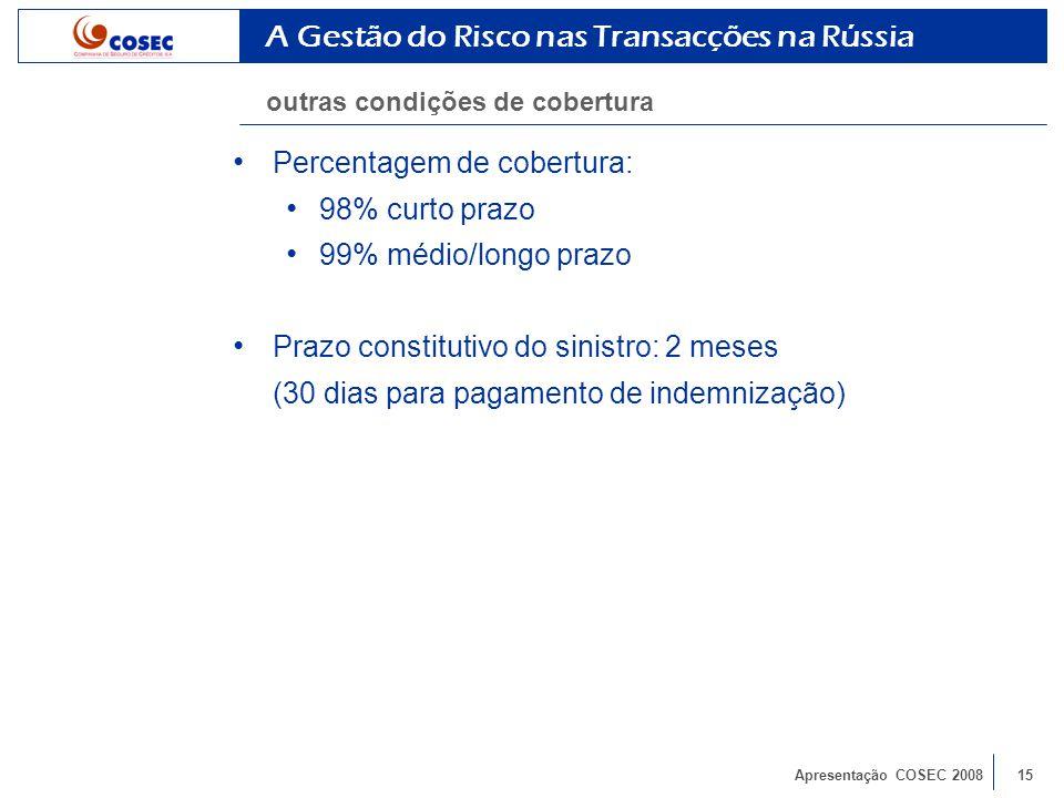 Apresentação COSEC 200815 Percentagem de cobertura: 98% curto prazo 99% médio/longo prazo Prazo constitutivo do sinistro: 2 meses (30 dias para pagamento de indemnização) A Gestão do Risco nas Transacções na Rússia outras condições de cobertura