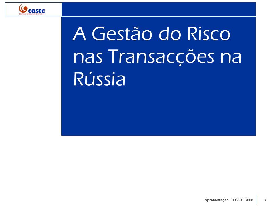 Apresentação COSEC 20083 A Gestão do Risco nas Transacções na Rússia