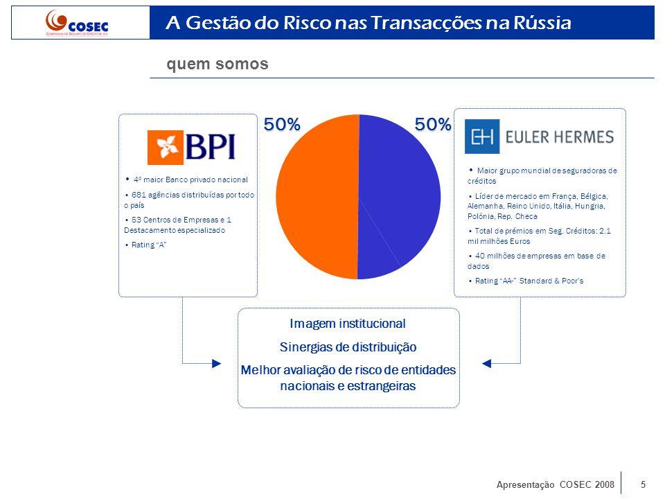 Apresentação COSEC 200816 A Gestão do Risco nas Transacções na Rússia linha de crédito CGD/VEB