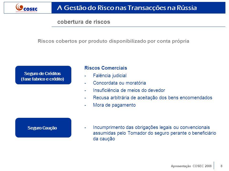 Apresentação COSEC 20088 Riscos Comerciais -Falência judicial -Concordata ou moratória -Insuficiência de meios do devedor -Recusa arbitrária de aceitação dos bens encomendados -Mora de pagamento -Incumprimento das obrigações legais ou convencionais assumidas pelo Tomador do seguro perante o beneficiário da caução A Gestão do Risco nas Transacções na Rússia cobertura de riscos Seguro Caução Seguro de Créditos (fase fabrico e crédito) Riscos cobertos por produto disponibilizado por conta própria