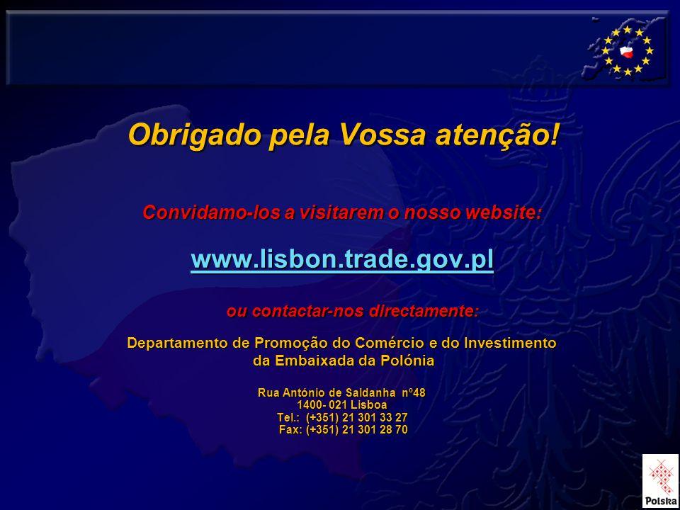 31 Convidamo-los a visitarem o nosso website: www.lisbon.trade.gov.pl ou contactar-nos directamente: Departamento de Promoção do Comércio e do Investimento da Embaixada da Polónia da Embaixada da Polónia Rua António de Saldanha nº48 1400- 021 Lisboa Tel.: (+351) 21 301 33 27 Fax: (+351) 21 301 28 70 Fax: (+351) 21 301 28 70 Obrigado pela Vossa atenção!