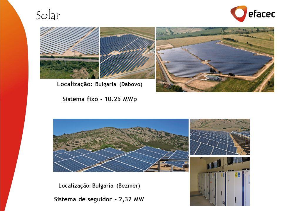 Localização: Bulgaria (Dabovo) Sistema fixo - 10.25 MWp Solar Sistema de seguidor – 2,32 MW Localização: Bulgaria (Bezmer)
