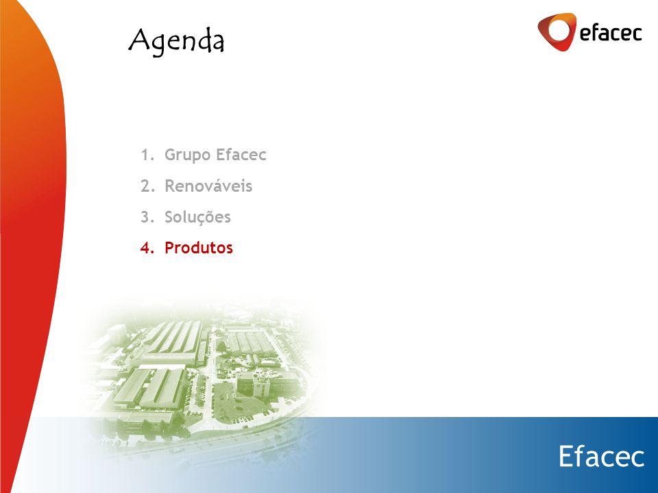 Efacec Agenda 1.Grupo Efacec 2.Renováveis 3.Soluções 4.Produtos