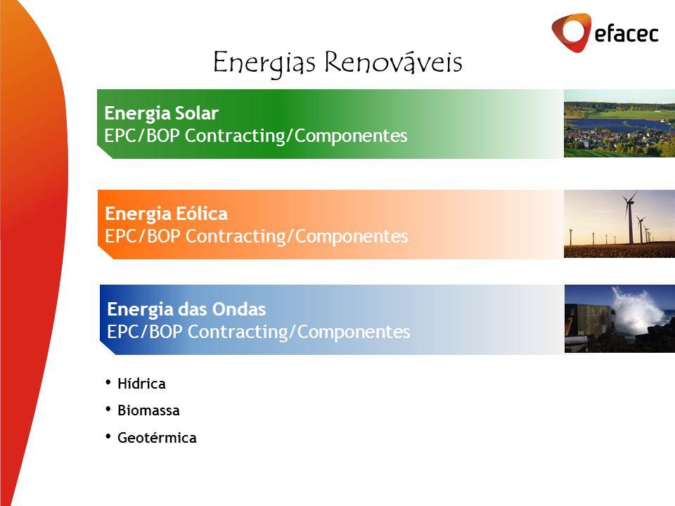 Energia das Ondas EPC/BOP Contracting/Componentes Energia Solar EPC/BOP Contracting/Componentes Energia Eólica EPC/BOP Contracting/Componentes Energias Renováveis Hídrica Biomassa Geotérmica