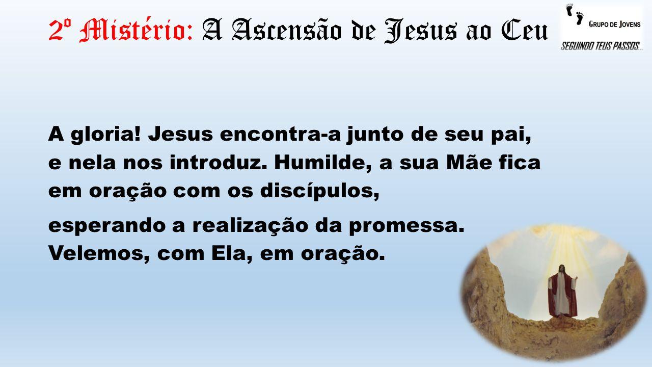 2º Mistério: A Ascensão de Jesus ao Ceu A gloria! Jesus encontra-a junto de seu pai, e nela nos introduz. Humilde, a sua Mãe fica em oração com os dis
