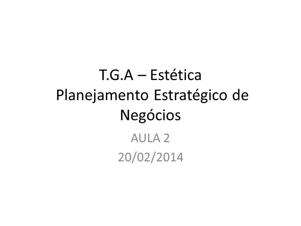 T.G.A – Estética Planejamento Estratégico de Negócios AULA 2 20/02/2014