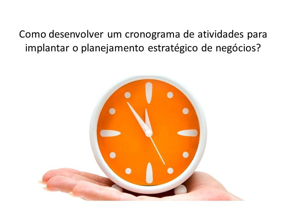 Como desenvolver um cronograma de atividades para implantar o planejamento estratégico de negócios?