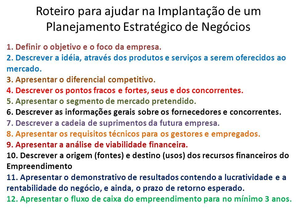 Roteiro para ajudar na Implantação de um Planejamento Estratégico de Negócios 1. Definir o objetivo e o foco da empresa. 2. Descrever a idéia, através