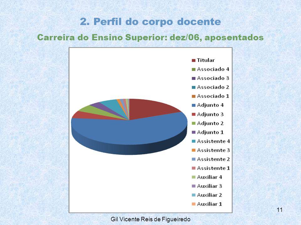 2. Perfil do corpo docente Carreira do Ensino Superior: dez/06, aposentados 11 Gil Vicente Reis de Figueiredo