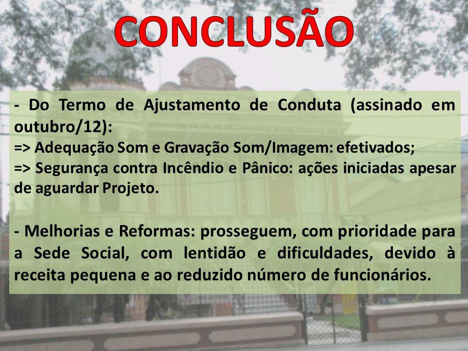 - Do Termo de Ajustamento de Conduta (assinado em outubro/12): => Adequação Som e Gravação Som/Imagem: efetivados; => Segurança contra Incêndio e Pâni