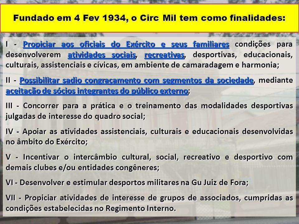 Fundado em 4 Fev 1934, o Circ Mil tem como finalidades: I - Propiciar aos oficiais do Exército e seus familiares condições para desenvolverem atividad