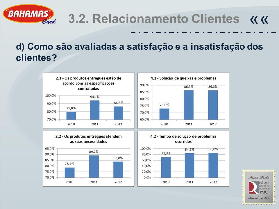 3.2. Relacionamento Clientes «« d) Como são avaliadas a satisfação e a insatisfação dos clientes?