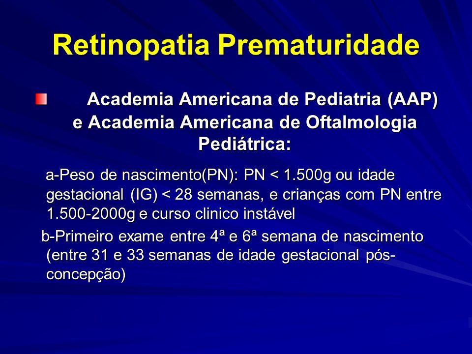 Retinopatia Prematuridade Academia Americana de Pediatria (AAP) e Academia Americana de Oftalmologia Pediátrica: Academia Americana de Pediatria (AAP) e Academia Americana de Oftalmologia Pediátrica: a-Peso de nascimento(PN): PN < 1.500g ou idade gestacional (IG) < 28 semanas, e crianças com PN entre 1.500-2000g e curso clinico instável a-Peso de nascimento(PN): PN < 1.500g ou idade gestacional (IG) < 28 semanas, e crianças com PN entre 1.500-2000g e curso clinico instável b-Primeiro exame entre 4ª e 6ª semana de nascimento (entre 31 e 33 semanas de idade gestacional pós- concepção) b-Primeiro exame entre 4ª e 6ª semana de nascimento (entre 31 e 33 semanas de idade gestacional pós- concepção)